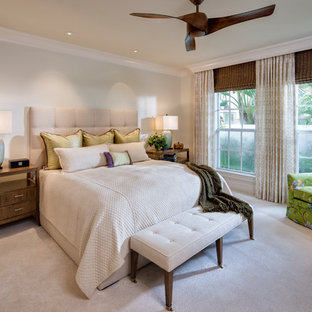 Bedroom - transitional carpeted and beige floor bedroom idea in Tampa with gray walls