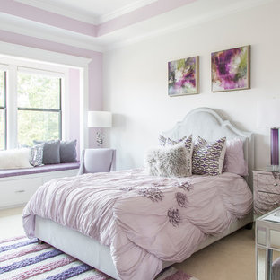 Example of a mid-sized transitional guest carpeted and beige floor bedroom design in Houston with white walls