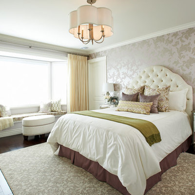 Example of a trendy brown floor bedroom design in Vancouver with multicolored walls