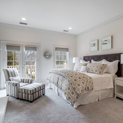 Bedroom - large transitional master carpeted bedroom idea in New York with gray walls, a standard fireplace and a stone fireplace