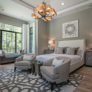 Large transitional master medium tone wood floor and brown floor bedroom photo in Orlando with gray walls