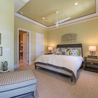 Bedroom - mid-sized transitional master carpeted and beige floor bedroom idea in Miami with green walls