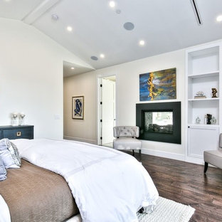 This is an example of a mid-sized transitional master bedroom in Orange County with brown walls, porcelain floors, a two-sided fireplace, a metal fireplace surround and brown floor.