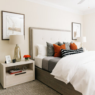 Inspiration for a transitional carpeted and gray floor bedroom remodel in Houston with beige walls