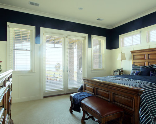 Large Elegant Master Carpeted Bedroom Photo In Grand Rapids With Blue Walls