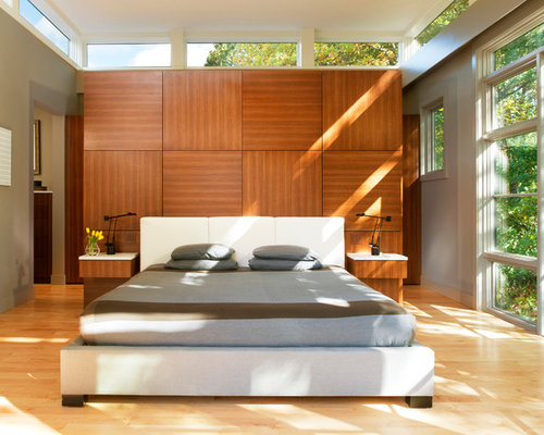 Contemporary light wood floor bedroom idea in DC Metro with gray walls. Zen Bedroom   Houzz