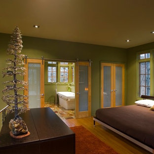 Inspiration for a contemporary loft-style bedroom in Other with green walls and medium hardwood floors.