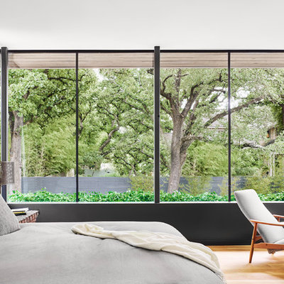 Example of a trendy medium tone wood floor and brown floor bedroom design in Austin with white walls