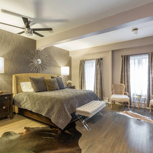 Example of an eclectic master bedroom design in New York