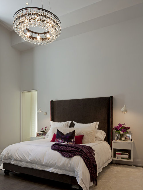 Chandelier In Bedroom   Houzz Inspiration for a contemporary bedroom remodel in New York with white walls. Bedroom Chandeliers. Home Design Ideas