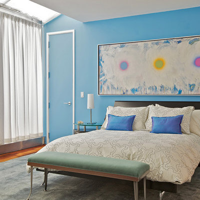 Inspiration for a contemporary bedroom remodel in New York with blue walls