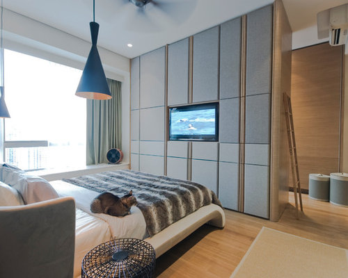 Wardrobe with tv houzz for Apartment wardrobe design