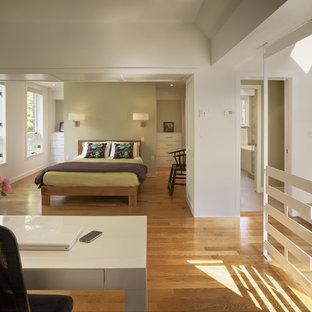 Imagen de dormitorio tipo loft, actual, con paredes verdes y suelo de madera en tonos medios
