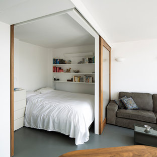 Ejemplo de dormitorio contemporáneo, pequeño, sin chimenea, con paredes blancas, suelo de linóleo y suelo gris
