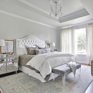Bedroom - large traditional master medium tone wood floor bedroom idea in Houston with gray walls