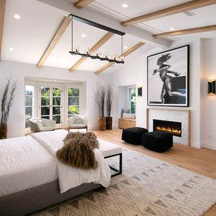 Esempio di una camera matrimoniale stile marino con pareti bianche, parquet chiaro, camino lineare Ribbon e cornice del camino in pietra