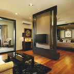 Prairie Style Media Room Contemporary Home Theater