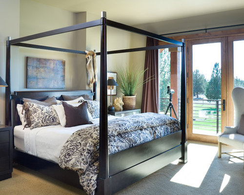 Mountain style carpeted bedroom photo in Portland with beige walls. Master Bedroom Bedding Ideas   Photos   Houzz