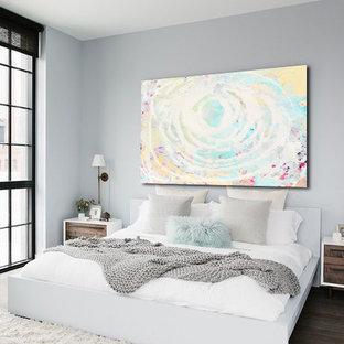 Bedroom - mid-sized modern guest dark wood floor bedroom idea in Miami with white walls