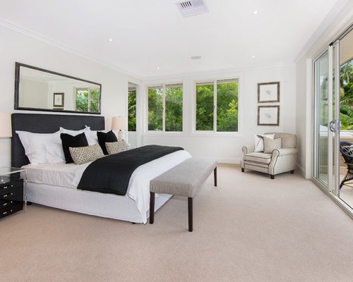 transitional bedroom design. Perfect Bedroom Photo Of A Transitional Master Bedroom In Sydney With White Walls Carpet  And No Fireplace Throughout Transitional Bedroom Design R