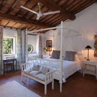Свежая идея для дизайна: большая хозяйская спальня в средиземноморском стиле с белыми стенами и полом из терракотовой плитки - отличное фото интерьера