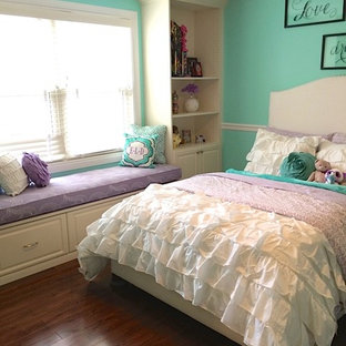 Mid-sized transitional medium tone wood floor bedroom photo in DC Metro with green walls
