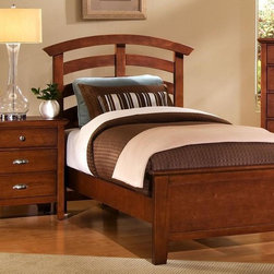Vaughan Bassett - Twin Size Arched Panel Bed w Nightstand in Ch - Includes twin size panel bed and nightstand. Cherry finish. Assembly required. Twin size panel bed:. Includes arched headboard, platform footboard and wood rails. Arched headboard: 45 in. L x 2.5 in. W x 52 in. H. Platform footboard: 42 in. L x 2.5 in. W x 21 in. H. Wood rails: 74 in. L x 6 in. W x 1 in. H. Nightstand:. 2 Drawers. 26 in. W x 16 in. D x 29 in. H. Under bed storage box: 52 in. L x 19 in. W x 7.5 in. H (optional)