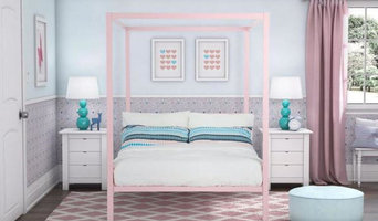 Twin size Metal Platform Canopy Bed Frame in Pink
