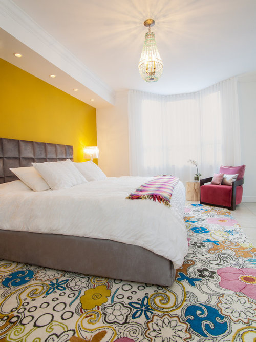 Trendy Bedroom Photo In Miami With Yellow Walls