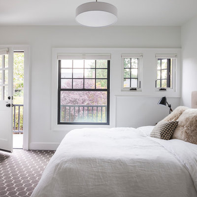 Bedroom - large transitional master carpeted and multicolored floor bedroom idea in Seattle with white walls and no fireplace