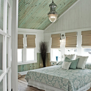 Coastal Master Light Wood Floor Bedroom Photo In Dc Metro With Multicolored Walls