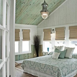 ワシントンD.C.のビーチスタイルのおしゃれな主寝室 (マルチカラーの壁、淡色無垢フローリング)
