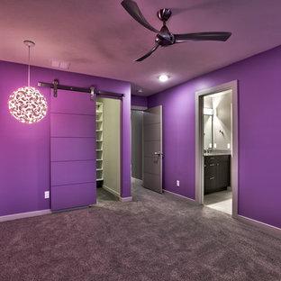 オマハの中サイズのモダンスタイルのおしゃれなゲスト用寝室 (グレーの壁、カーペット敷き、暖炉なし)