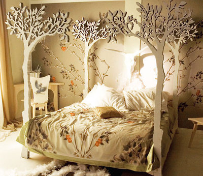Lovely Eclectic Bedroom Under the Apple Tree Canopy Bed modern romantic Scandinavian design
