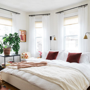 Bedroom - eclectic master dark wood floor bedroom idea in Boston with white walls and no fireplace