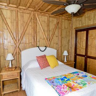 Diseño de habitación de invitados exótica, de tamaño medio, sin chimenea, con suelo de corcho