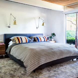 Ispirazione per una camera da letto minimalista di medie dimensioni con pavimento in cemento