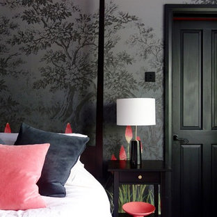 他の地域の中サイズのエクレクティックスタイルのおしゃれな客用寝室 (マルチカラーの壁、塗装フローリング、標準型暖炉、金属の暖炉まわり、黒い床) のインテリア