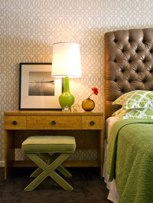 Green and brown bedroom ideas houzz - Brown and green bedroom ...