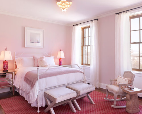 for a transitional bedroom remodel in new york with pink walls