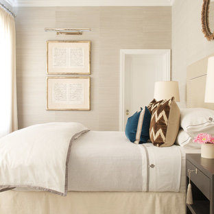 Example of a large transitional master carpeted bedroom design in New York with beige walls and no fireplace