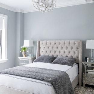 Bedroom - transitional gray floor bedroom idea in New York with gray walls