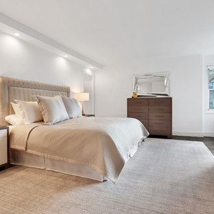 Inspiration For A Contemporary Dark Wood Floor And Brown Floor Bedroom  Remodel In New York With