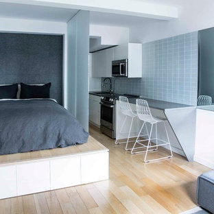 Bedroom - contemporary loft-style light wood floor bedroom idea in New York with gray walls