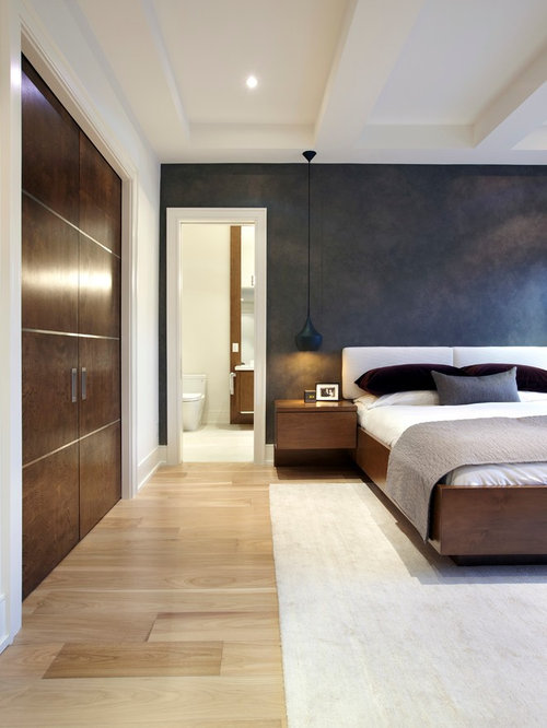 chambre moderne avec un mur marron photos et id es d co de chambres. Black Bedroom Furniture Sets. Home Design Ideas