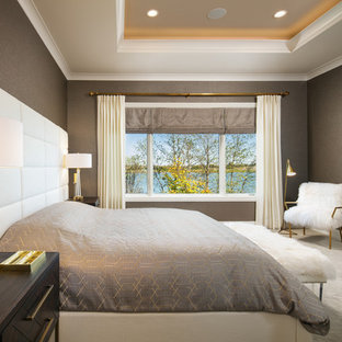 Bedroom - large contemporary master carpeted and gray floor bedroom idea in Omaha with gray walls and no fireplace