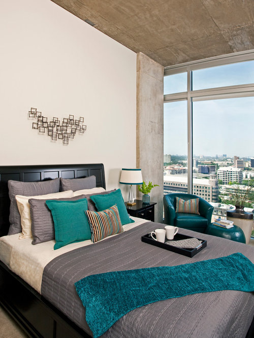 Turquoise And Gray Bedroom Design Ideas Renovations Photos