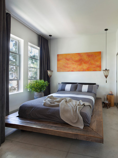 Small industrial loft style concrete floor and gray floor bedroom idea in  Orange County with. Best 100 Industrial Bedroom Ideas   Decoration Pictures   Houzz