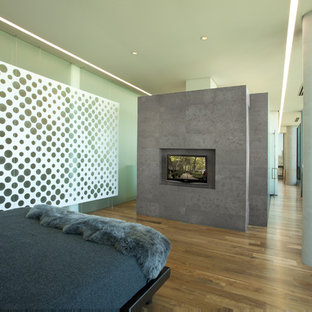 Inspiration for a modern medium tone wood floor bedroom remodel in Minneapolis