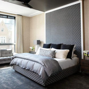 Example Of A Trendy Carpeted Bedroom Design In Chicago With Beige Walls